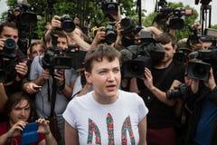 Hero of Ukraine Nadiya Savchenko after liberation from Russian p. KIEV, UKRAINE - May 25, 2016: First communication with journalists of Ukrainian pilot, Hero of Stock Images