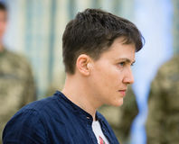 Hero of Ukraine Nadiya Savchenko after liberation from Russian p Stock Photo