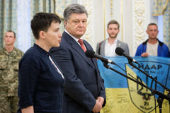 Hero of Ukraine Nadiya Savchenko after liberation from Russian p Stock Photos
