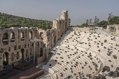 Odeon of Herodes Atticus or Herodeon, Acropolis, Athens. The Herodeon outdoor theatre is a ancient stone theatre that was built for musical contests royalty free stock image