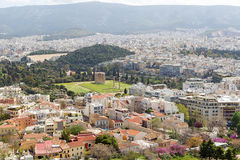 Herodes埃迪克Odeon在上城的南倾斜的 库存照片