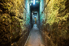 The Herodian road . Tunnel that leads from the Shiloah pool to the Temple mount in Jerusalem, it is 600 meters long. It is also called `The Herodian road royalty free stock photography