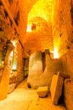 Herodian street underground in the Western Wall tunnels in Jerusalem, Israel. Jerusalem, Israel- July 23, 2015: Colonnaded second temple period Herodian street stock photography