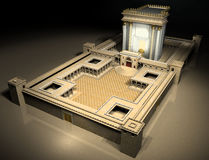 Herodian Temple. A rendering of the Jewish temple at the time of Christ. It is the Herodian Temple or second temple in Jerusalem stock illustration