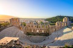 Herodion埃迪克剧院在上城下,雅典废墟的  库存图片