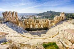 Herodion埃迪克,从3张照片的HDR古老剧院废墟  免版税图库摄影