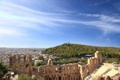 Herodion废墟有都市风景视图 免版税图库摄影