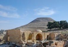 Herodium或Herodion,大希律王堡垒废墟  免版税库存图片