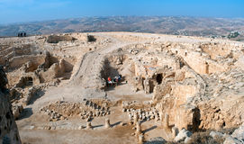 Herodium , ancient fortress. Herodion, ancient fortress. Archaeological excavations of the palace of King Herod. Israel Royalty Free Stock Photos