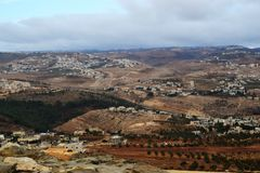 Herodium Herodion, крепость Herod большая, взгляд палестинской автономии, westbank, Палестины, Израиля стоковая фотография rf