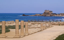 Herods Port And Palace ruins in Caesarea. Mediterranean coast of Royalty Free Stock Photography
