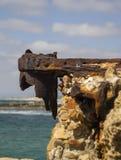 Herods Port ruins in Caesarea. Mediterranean coast of Israel Stock Photos