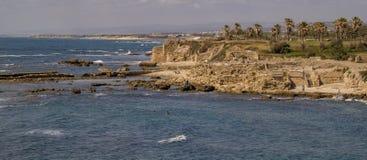 Herods Port ruins in Caesarea. Panoramic View Royalty Free Stock Photo
