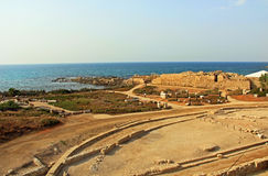 Herods Promontory Palace in Caesarea Maritima National Park Stock Images