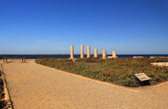 Herods uddeslott i den Caesarea Maritima nationalparken Arkivbilder