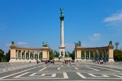 Heroe's Square in Budapest, Hungary. Summer view of the Heroe's Square in Budapest, Hungary stock image