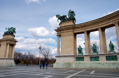 Heroe s Square in Budapest, Hungary Stock Images