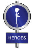Heroes. Graphic and text information sign mounted on post Royalty Free Stock Photography