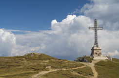 Heroes Cross Monument In Bucegi mountains. Heroes Cross from Bucegi Mountain Romania was built between 1926 and 1928 at 2291 m. altitude Stock Image