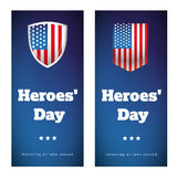 Heroes Day USA banner set Stock Photography
