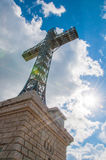 Heroes& x27; Kreuz auf Caraiman-Spitze Stockfoto