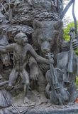 The heroes of Krylov`s fables, on the pedestal of his monument,. St. Petersburg, RUSSIA 17,06,2018 -The heroes of Krylov`s fables, on the pedestal of his royalty free stock image