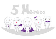 Heroes. 3 male and 2 female heroes Stock Photos