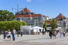 Heroes of Monte Cassino Street with Spa House, Sopot, Poland. SOPOT, POLAND - JUNE 5, 2018: Heroes of Monte Cassino Street with Spa House at the Baltic sea, near Stock Image