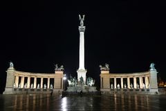 Heroes sqare at night. In Budapest, Hungary Royalty Free Stock Photo