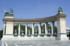 Heroes' Square. The stone pillars at Heroes Square in Budapest Stock Photo