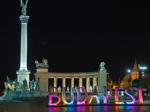 Heroes' Square with big coloured letters Budapest Royalty Free Stock Image