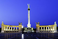 Heroes' Square Budapest. Heroes' Square in Budapest, Hungary at blue hour Stock Image