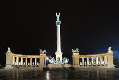 Heroes Square - Budapest. This is the monument on the Heroes Square (Hosok tere) at night in Budapest, Hungary Royalty Free Stock Images