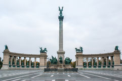 Heroes Square in Budapest, the capital of Hungary. Sight in a cloudy day of the Heroes Square in Budapest, the capital of Hungary. The Heroes Square is one of Royalty Free Stock Photography