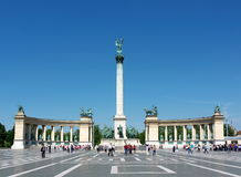 Heroes' Square, Budapest, Hungary. Tourists visit the Millennium Monument in Heroes' Square, Budapest, Hungary. This square, along with Andrassy Avenue, has been Royalty Free Stock Photo