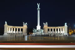 Heroes Square in Budapest, Hungary. Night shot of Heroes square with Millenium Memorial and the horseman Memorial from Prince Arpad in Budapest, Hungary royalty free stock images