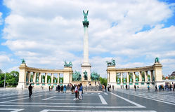 Heroes Square in Budapest in Hungary against the blue sky with clouds on a sunny day Stock Photography