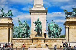 Heroes Square in Budapest in Hungary against the blue sky with clouds on a sunny day Royalty Free Stock Photos