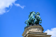 Heroes Square - Budapest, Hungary. Horses,detail of the Heroes Square - Budapest, Hungary Stock Images