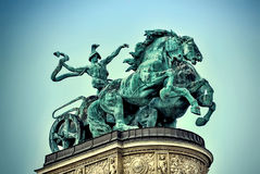 Heroes Square, Budapest, Hungary. statue of a chariot closeup Royalty Free Stock Images