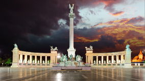 Heroes Square in Budapest Hungary Time lapse