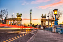 Heroes Square in Budapest with monument in the evening, Hungary Royalty Free Stock Photo