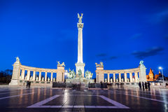 Heroes Square in Budapest with monument in the evening, Hungary Stock Photography