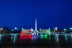 Heroes Square and Budapest. Heroes Square at night in Budapest Stock Photography