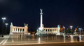 Heroes square in Budapest at night Royalty Free Stock Photography