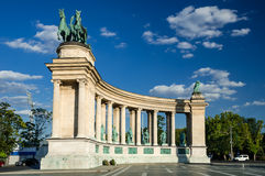 Heroes Square in Budapest. Heroes Square is one of the major attraction of Budapest, Hungary, rich with historic and political connotations, completed in 1900 Royalty Free Stock Image