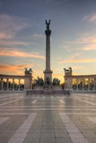 Heroes Square Budapest Sunrise Royalty Free Stock Photography