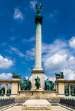 Heroes' Square column in Budapest royalty free stock photography