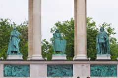 Heroes Square, Hosok Tere, Statues Of Béla IV, Charles I And Louis I Of Hungary, Detail Of Left Colonnade, Budapest Royalty Free Stock Images