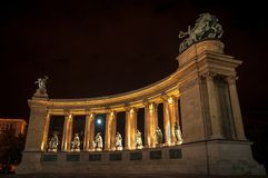 Heroes square in Hungary at night Royalty Free Stock Images